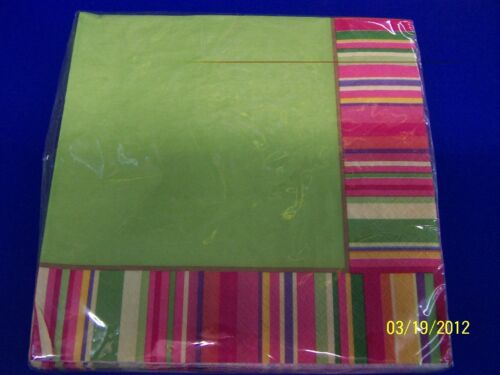 Colorful Stripes Summer Luau Floral General Cocktail Party Paper Dinner Napkins