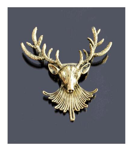 Brosche Hirsch Reh Schalhalter Anstecknadel Jackenschliesse Elch Geweih Bronze