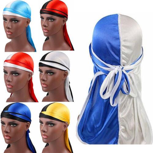 Men Soft Silk Two-tone Bandana Turban Hat Doo Durag Headwear Headband Pirate Cap