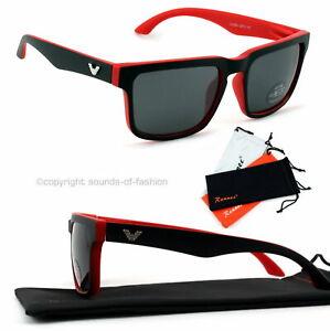 Grosse-Sonnenbrille-Rechteckig-Verspiegelt-Damen-Herren-XL-rot-matt-schwarz-V1