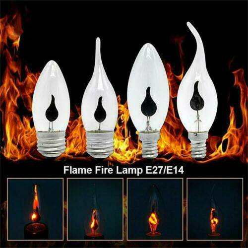 E27 E14 LED Burning Candle Light Flicker Fire Effect Party Decor Flame Lamp Bulb