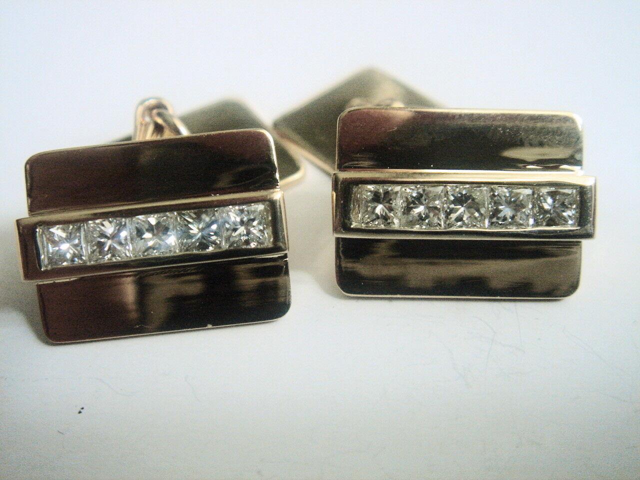 Cartier 14K Solid  Yellow gold Diamond Cufflinks