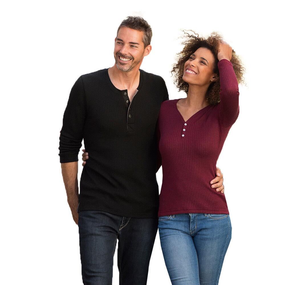 Engel Damen Shirt Langarm mit Knopfleiste Bio-Schurwolle Seide
