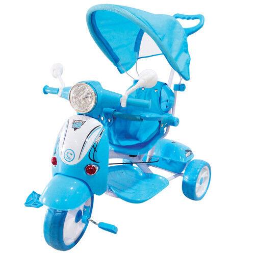 Triciclo Vespa scooter blu pedali moto per bambini con parasole suoni passeggino