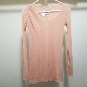 FUZZI-Womens-Medium-Top-Long-Sleeve-Stretchy-Mesh-Layers-Italy-Nylon-Pink-Shirt