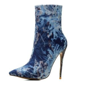 Women-Lady-Pointed-Toe-Denim-Ankle-Boots-High-Heels-Stilettos-Fashion-Shoes-New