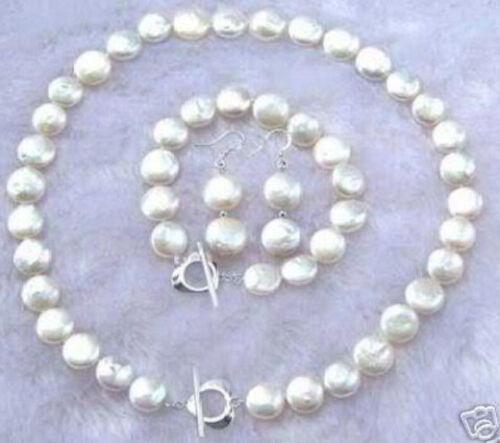 11-12 MM blanc pièce perle collier bracelet boucle d/'oreille Set