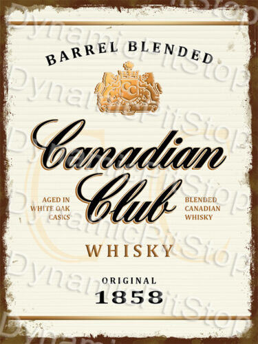 Bar Retro Cave Garage 30x40cm Canadian Club Whiskey Rustic Tin Sign or Decal