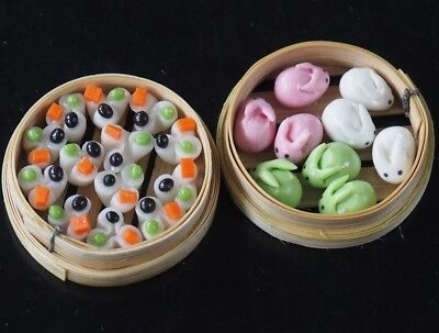1:6 Dollhouse Miniatures Chinese Steamed Dumplings Deco Barbie Toy Food A008