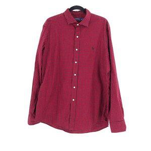 Ralph Lauren Polo Men's Red Black Gingham Check Long Sleeve Shirt XL Logo Cotton