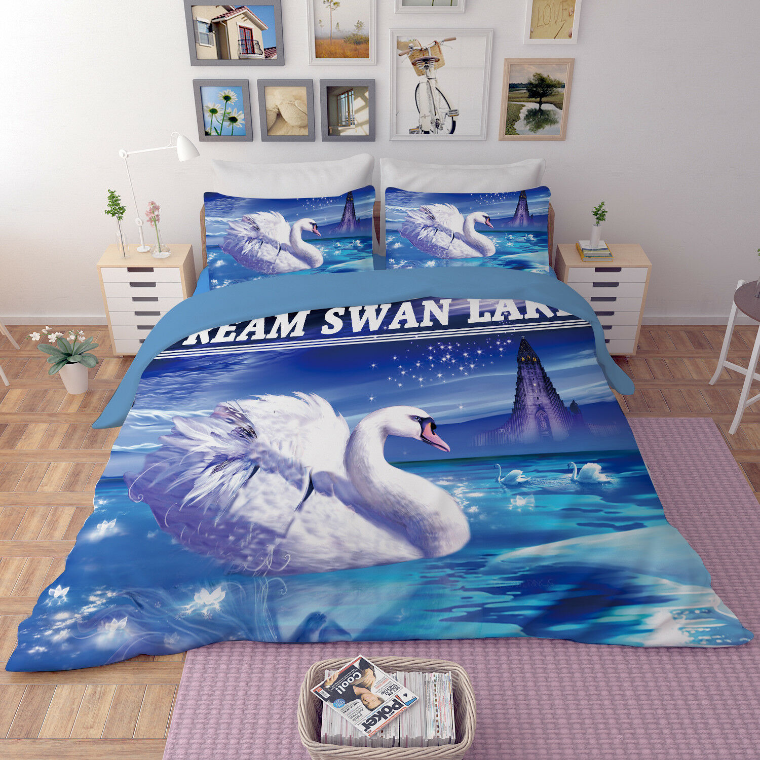 3D Swan Painted 806 Bed Pillowcases Quilt Duvet Cover Set Single Queen UK Kyra
