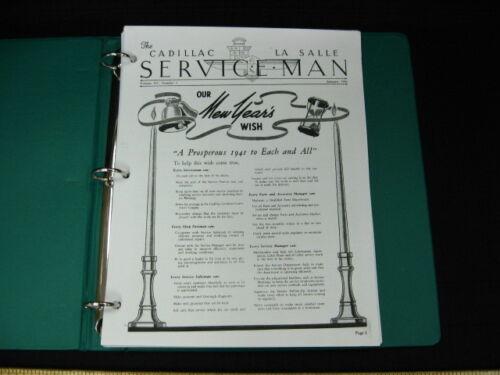 1941 CADILLAC LASALLE Service Man Service Bulletins Complete w// Index