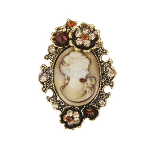 Vintage broche camée Broche Strass Cristal Femmes Reine LADY Portrait Broche