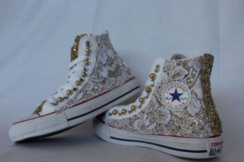 converse all star  bianche con glitter oro con pizzo bianco e perle oro
