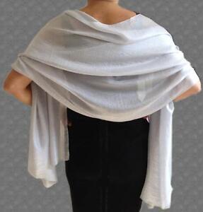 SILKY-Lightweight-SILVER-Grey-WEDDING-Evening-Pashmina-Style-Shawl-Wrap-Scarf