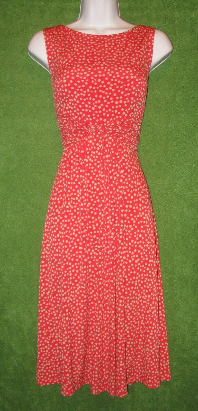 Jessica Howard Orange Beige Dot Jersey Twist Empire Social Work Dress 8