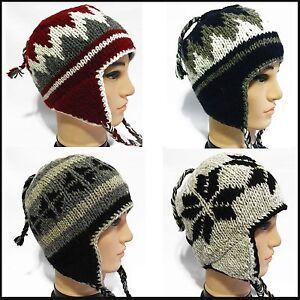 db529f19dc9 handmade 100% Wool made in nepal beanie hat Pilot Ski cap with ...