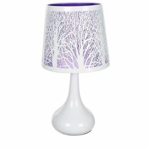 Lampe Tactile Arbre Violet Abat Jour Et Pied Metal Chevet Touch 3
