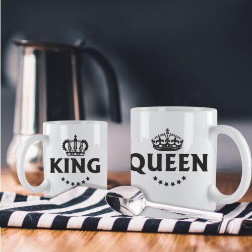 """Geschenkidee Valentinstag Tassen Set /""""King /& Queen/"""" 2er Set Partnertassen"""
