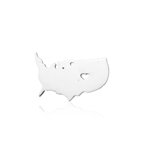 38 States of America USA Territory Map Stainless Steel Pendants DIY Necklace