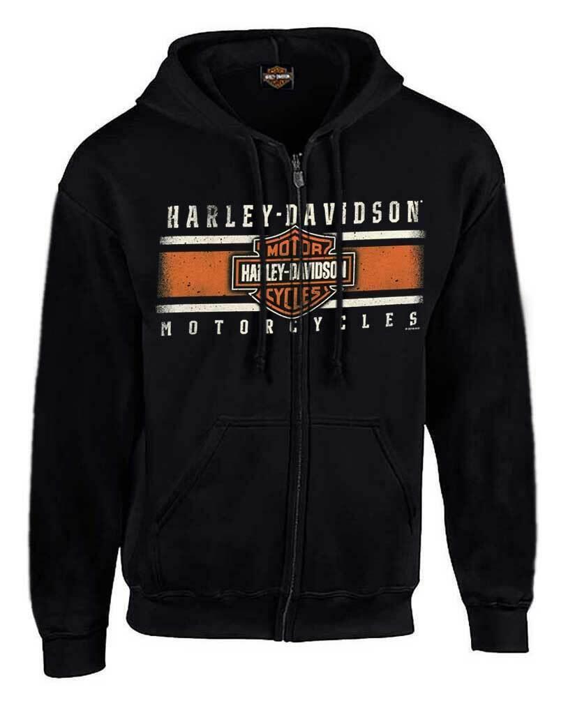 Harley-Davidson Hombre Personalizado icónico B&s Polar  Sudadera Con Capucha Con Cremallera Completa-Negro Sólido  varios tamaños