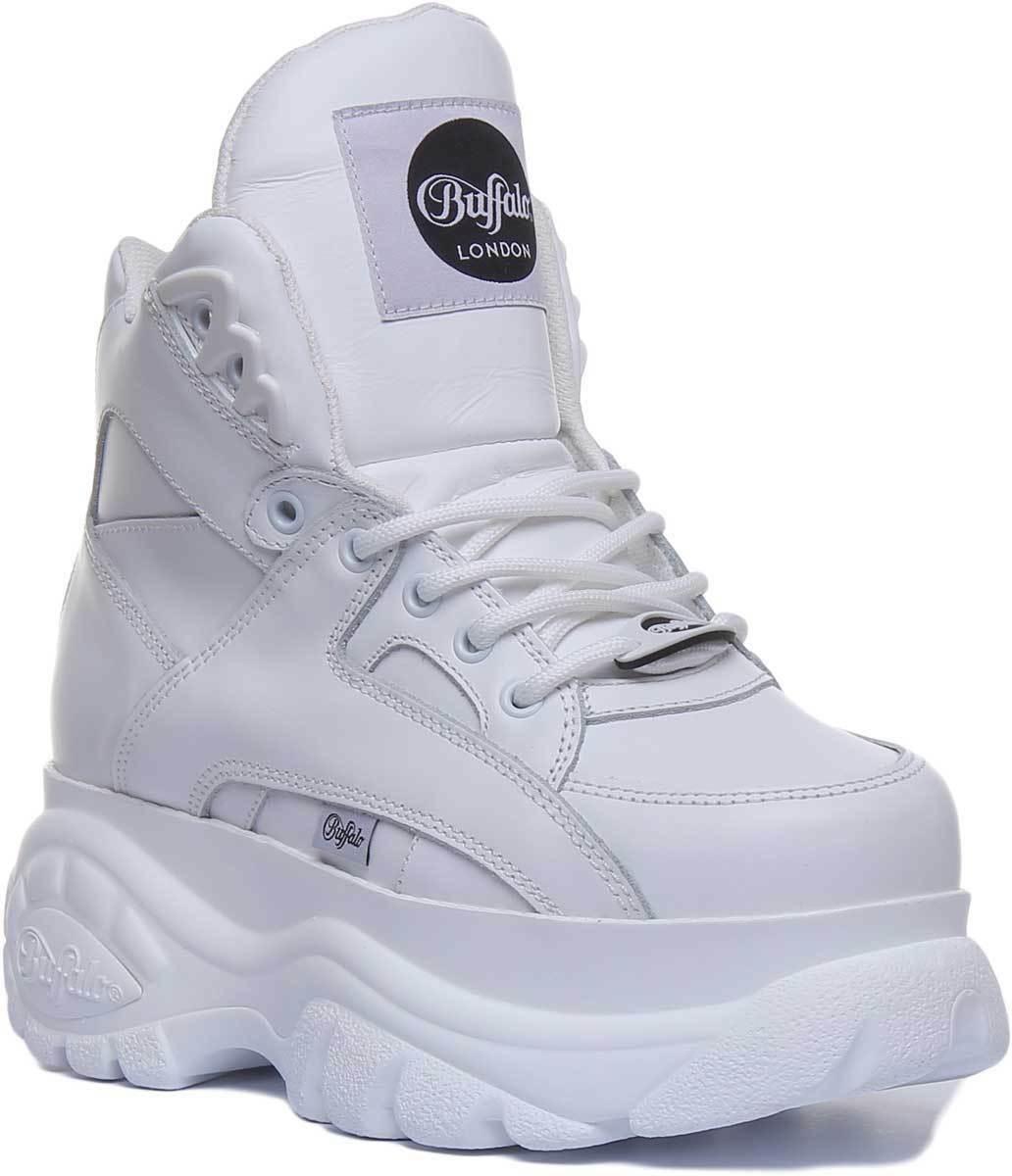 Buffalo 1534068 60mm 60mm 60mm kvinnor Classic vit läder Platform skor UK Storlek 3 - 8  billigt online