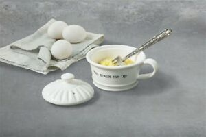 Mud Pie E1 Cooking Circa Ceramic Microwave Egg Cooker & Fork 42600661