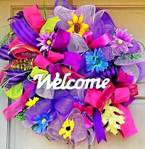All-Occasion-Welcome-Wreath-Jewel-Tone-Floral-Winter-Spring-Summer-Door-Decor