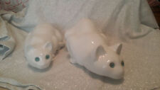 Ceramic White Cats Glass Eyes ELPA Alcobaca Portugal Crouching Lot of 2 Large