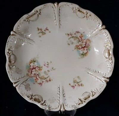 Decorative Arts 100% True Antique Jpf Germany Porcelain Floral Serving Dish/bowl Scalloped Gold Trim Edges Bracing Up The Whole System And Strengthening It