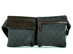 2cc08b03740af1 Authentic GUCCI GG Pattern Brown Canvas & Leather Waist Bag Belt Bum ...