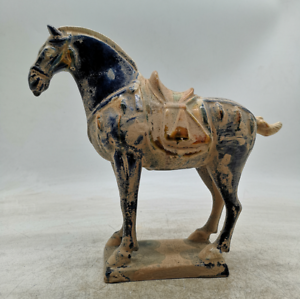 9-1-034-Collect-Old-Chinese-Ceramics-Tang-Sancai-Pottery-Ancient-War-horse-Statue