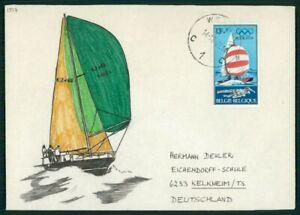 Mode 2019 Belgique Enveloppe Peinte!!! 1977 Voilier Ship Pièce Unique!!! Unique!!! El66-afficher Le Titre D'origine