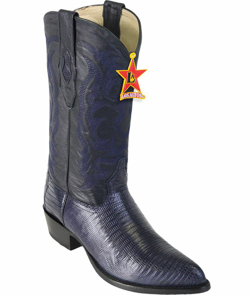 LOS ALTOS MEN NAVY blueE GENUINE TEJU LIZARD WESTERN COWBOY J-TOE BOOT EE