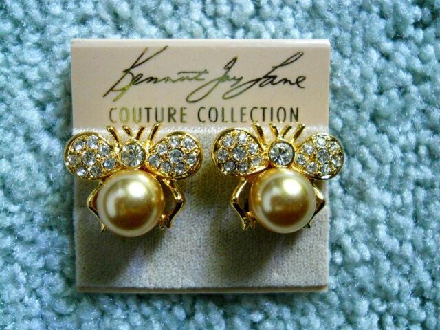 Kenneth Jay Lane Crystal Ble Bee Gold Pearl Clip Earrings