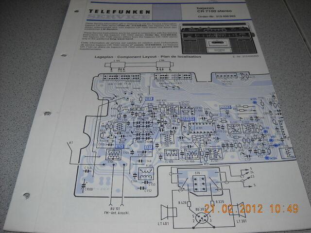 Telefunken Kofferradio Bajazzo CR7100 stereo Schaltplan | eBay