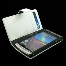 White Folio Leather Case + Film for Sony Ericsson X12 XPERIA ARC S LT18i LT15i u