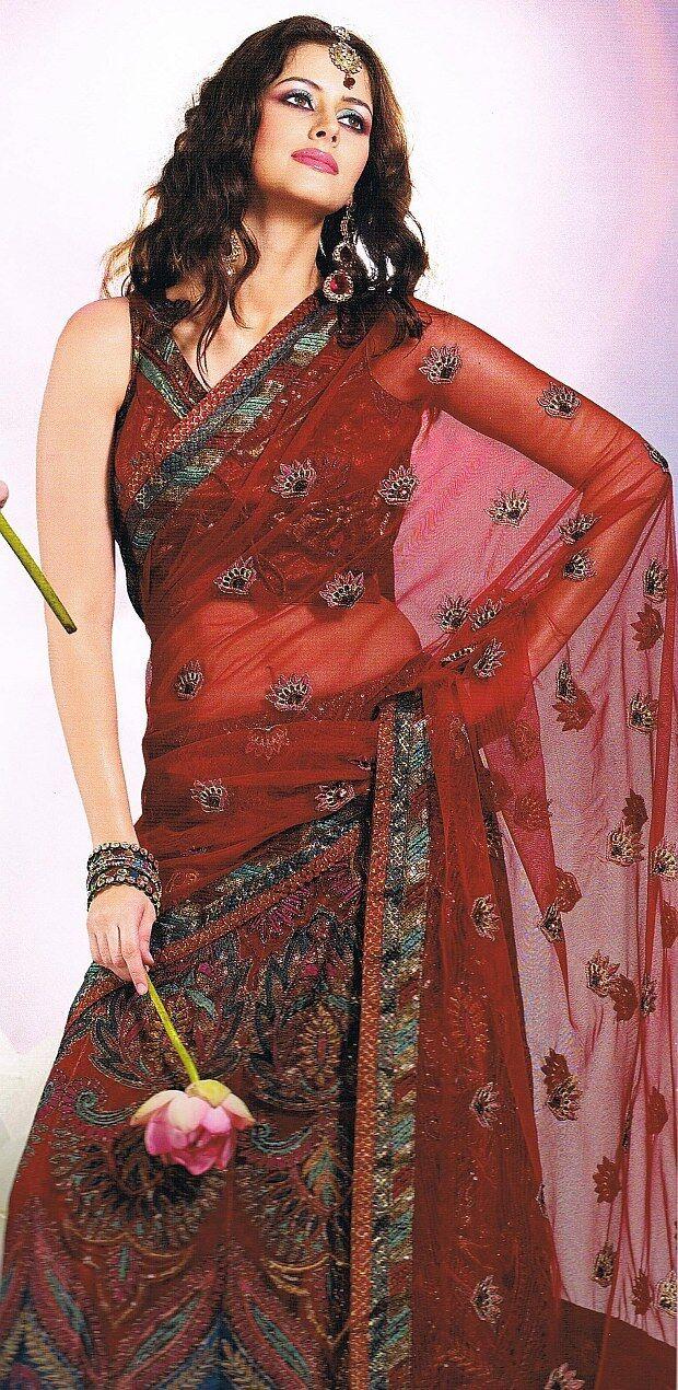 Burgundy Fashion Wedding Saree Designer Indian Dress Skirt Style Lehnga Sari