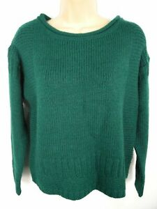 WOMENS-NWT-M-amp-S-INDIGO-COLLECTION-GREEN-CHUNKY-KNIT-JUMPER-PULLOVER-SWEATER-SZ-8