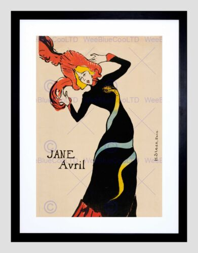 TOULOUSE LAUTREC FRENCH JANE AVRIL BLACK FRAMED ART PRINT PICTURE B12X5268