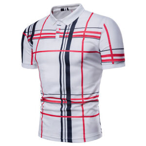 New-Luxury-Men-039-s-Striped-Short-Sleeve-T-Shirts-Casual-Slim-Men-Shirt-Blouse-Tops