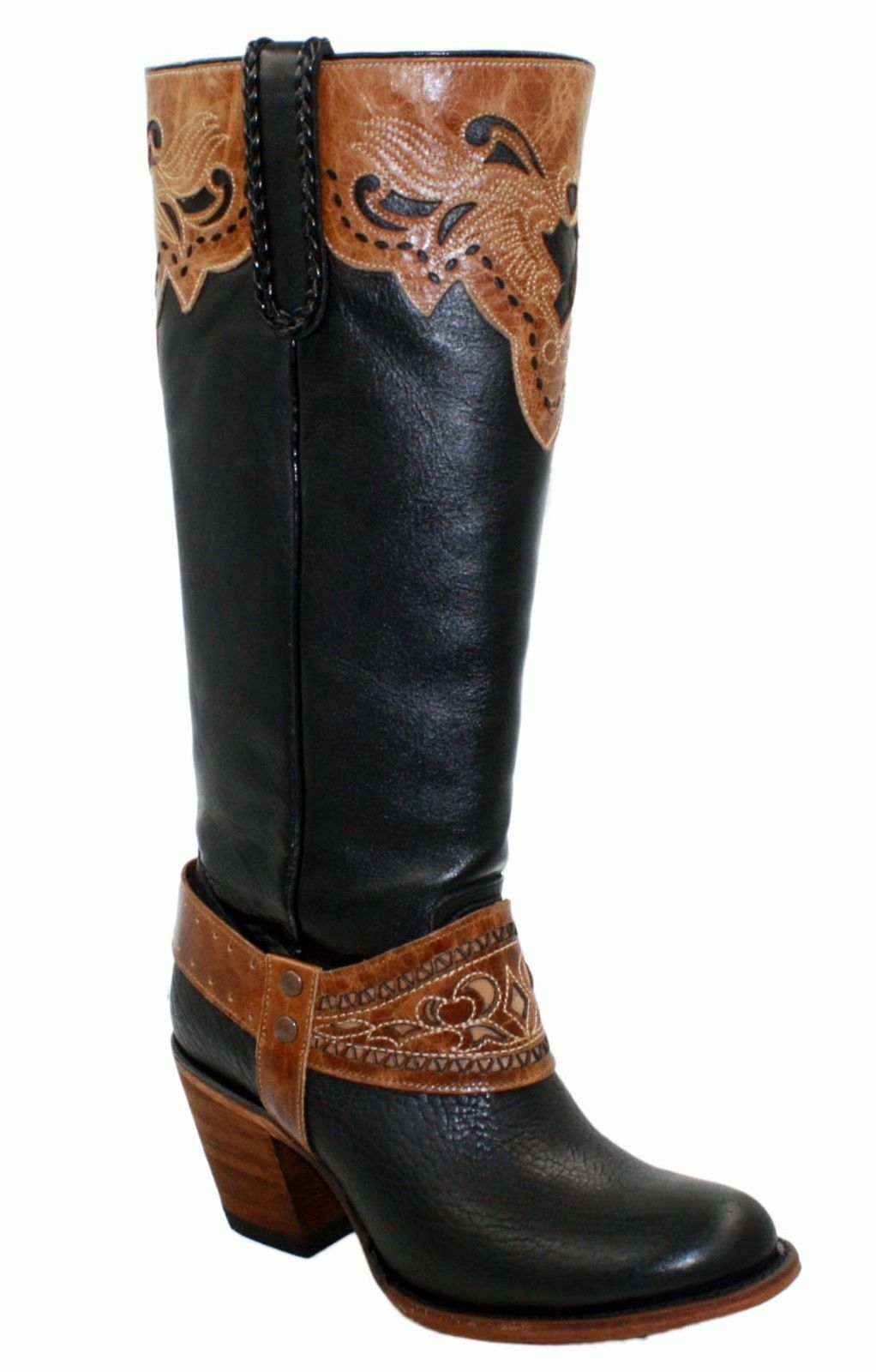 Ladies genuine soft soft soft cow hide western long around toe boots Beste quality bb06c6