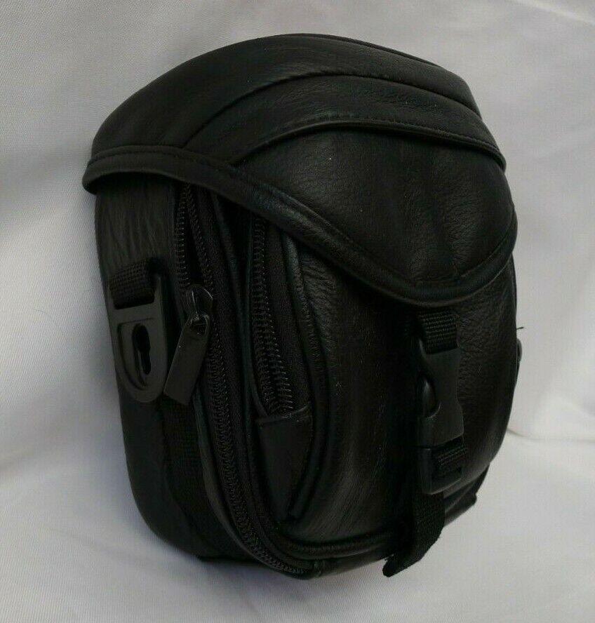 Black Real Leather Mini DV CamcorderDigital Camera Bag Case Padded with Pockets