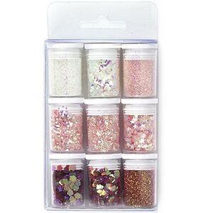 Glitter-Set-pink-9-Stueck-sortiert-Glitzerpulver-Hobby-amp-Crafting-Fun-12194-9407