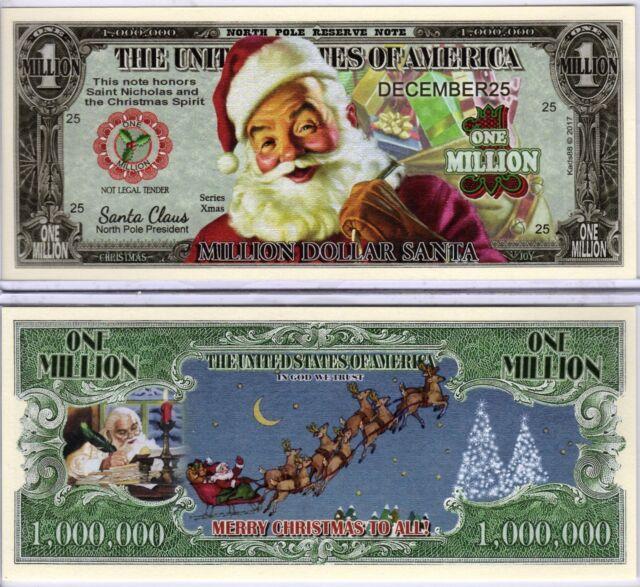 9 CHRISTMAS HOLIDAY SANTA CLAUS MILLION DOLLAR BILLS NOVELTY PLAY MONEY NOTE