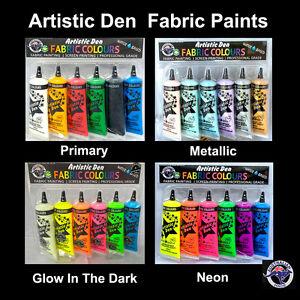 Fabric-Paint-Kits-6-x-50ml-Assorted-Fabric-Paint-Sets-Artistic-Den