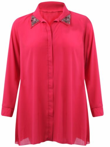 Ladies Plus Size Chiffon Shirt Dress Collar Studded Embellished Long Tunic Tops