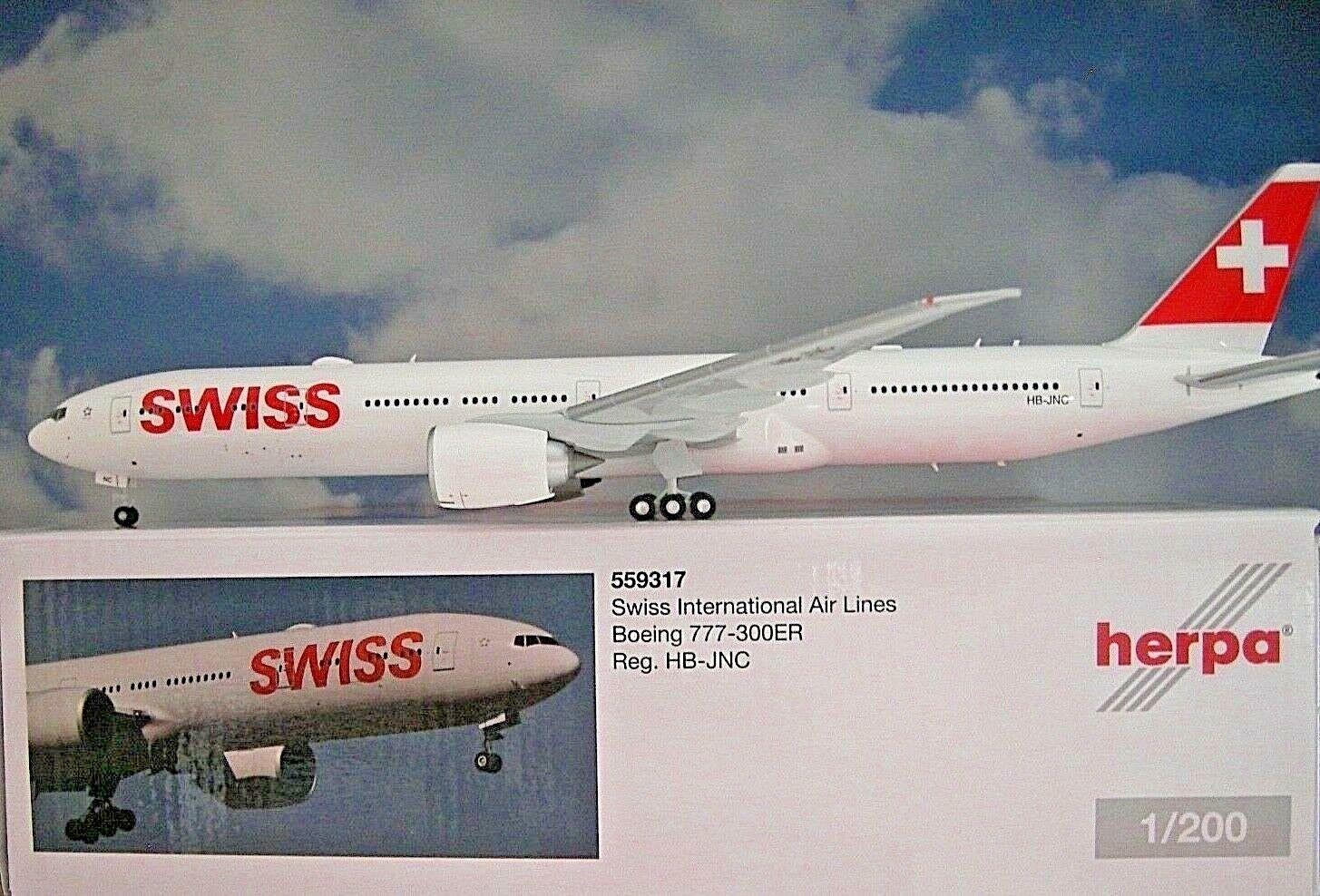 Herpa Herpa Herpa Wings 1 200 boeing 777-300er Swiss International Air Lines HB-JNC 559317 b2944d