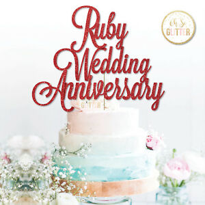 Image Is Loading Ruby Wedding 40th Anniversary Cake Topper