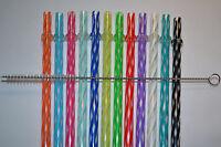 12 Reusable Straws Clear Swirly + Brush Hard Plastic Acrylic Rings Bpa Free 4b